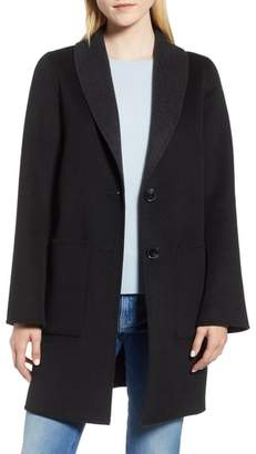 Tahari Jenn Double Face Wool Blend Reversible Coat