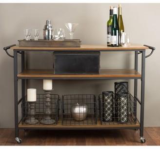 Baxton Studio Lancashire Brown Wood and Metal Kitchen Cart