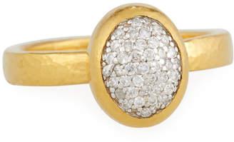Gurhan 24k Vertical Amulet Pavé Ring, Size 6.5