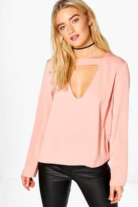 boohoo Open Neck Detail Blouse