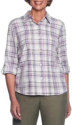 Alfred Dunner Palm Dessert Long Sleeve Embroidered Button-Front Shirt
