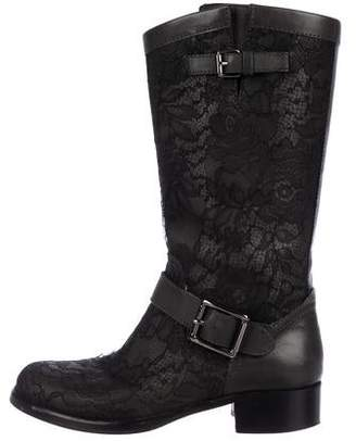Valentino Round-Toe Leather Mid-Calf Boots