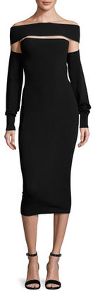 McQ Alexander McQueen Cutout Off-the-Shoulder Jersey Midi Dress, Black $485 thestylecure.com