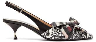 Prada Lipstick And Monkey Print Slingback Heels - Womens - Black White
