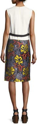 Derek Lam Sleeveless Floral-Embroidered Sheath Dress