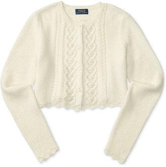 Ralph Lauren Cropped Pointelle-Knit Cardigan, Big Girls (7-16) $59.50 thestylecure.com