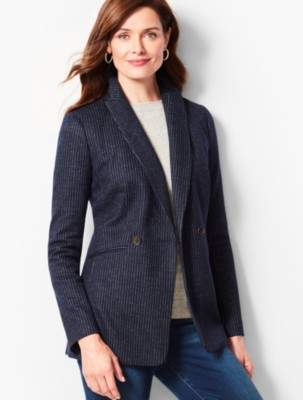 Talbots Pinstripe Double-Breasted Blazer