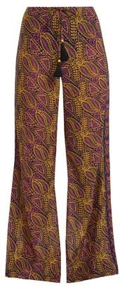 Figue Estela Paisley Print Cotton Blend Trousers - Womens - Blue Multi