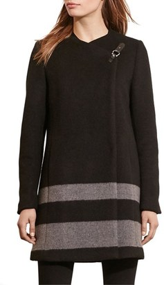 Women's Lauren Ralph Lauren Stripe Wool Blend Coat $340 thestylecure.com