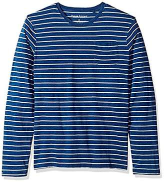 Tailor Vintage Men's Long Sleeve Indigo Sailor Stripe Jersey Pocket Tee