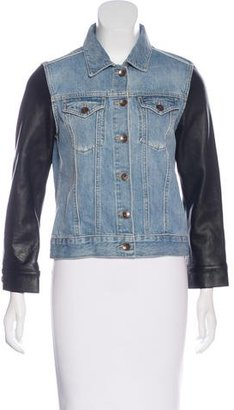 Sandro Denim & Leather Jacket $150 thestylecure.com