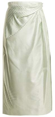 Carolina Herrera High Rise Gingham Silk Midi Skirt - Womens - Light Green