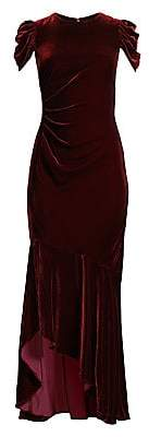 Shoshanna Women's Ruched Cap-Sleeve Silk Velvet Column Gown