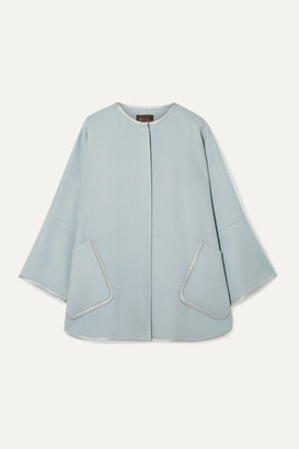 Loro Piana Silk Satin-trimmed Cashmere Cape - Sky blue