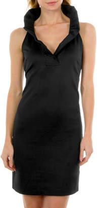 Gretchen Scott Ruffle Neck Sleeveless Dress