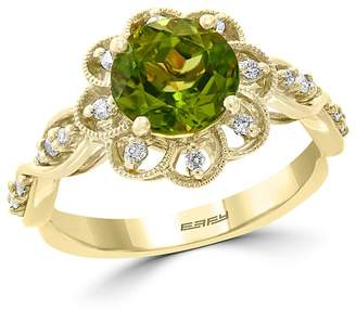 Bloomingdale's Peridot & Diamond Flower Ring in 14K Yellow Gold - 100% Exclusive