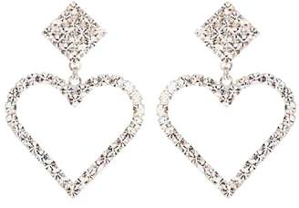 Alessandra Rich Crystal heart clip-on earrings