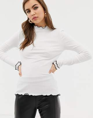 Only long sleeve rib with lettuce hem