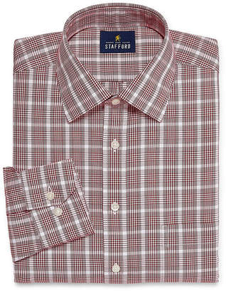 STAFFORD Stafford Executive Noniron Cotton Pinpoint Oxford Long Sleeve Plaid Dress Shirt
