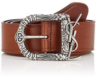 Saint Laurent Men's Monogram Celtic Leather Belt - Brown