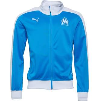 Mens Olympique Marseille Fan T7 Track Jacket Bleu Azur White