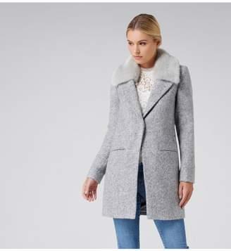 Ever New Natalie Textured Faux Fur Collar Crombie Coat