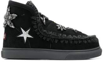 Mou embellished whipstitched ankle boots