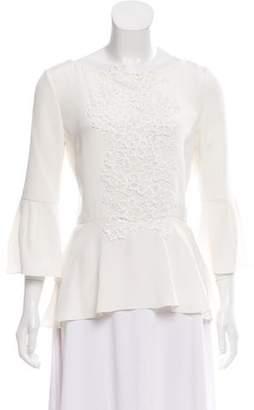Oscar de la Renta Guipure Lace-Accented Silk Blouse