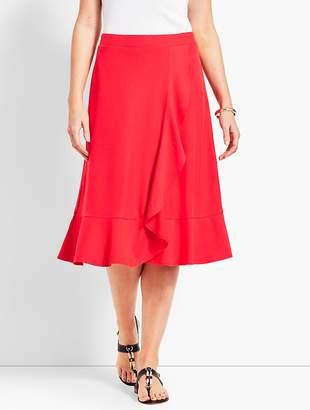 Talbots Cascading Faux-Wrap Jersey Skirt