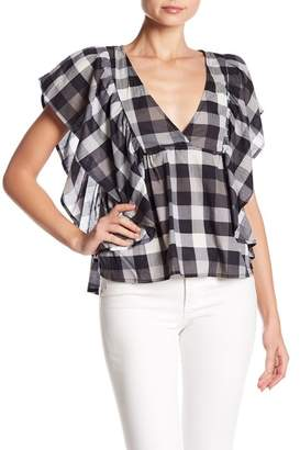 Melrose and Market Plaid Ruffle Trim Top (Petite)
