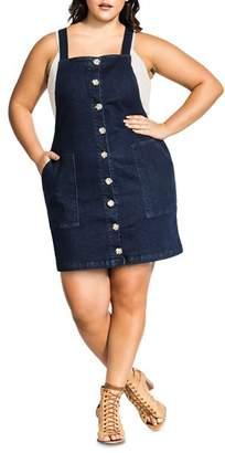 City Chic Plus Sleeveless Denim Button-Front Dress