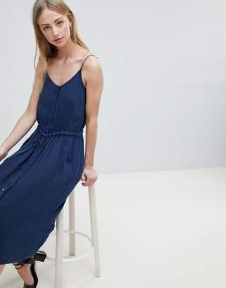Brave Soul Becky Button Through Midi Dress with Drawstring Waist