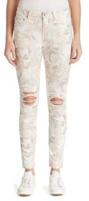 7 For All Mankind Distressed Floral-Print Ankle Skinny Jeans
