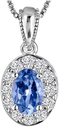 FINE JEWELRY Genuine Tanzanite and Lab-Created White Sapphire Sterling Silver Pendant Necklace