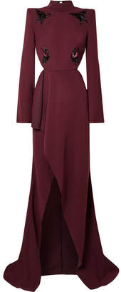 Thierry Mugler Open-back Appliquéd Crepe Gown - Burgundy