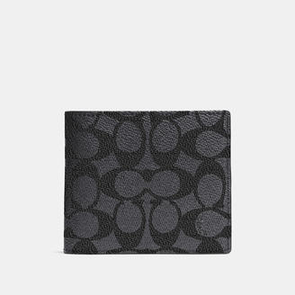 COACH Coach Compact Id Wallet In Signature Coated Canvas $175 thestylecure.com