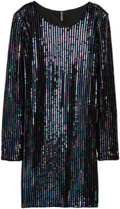 H&M Sequined Velour Dress - Black