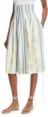 Brock Collection Sandra Corset Floral-Embroidered Stripe Linen Skirt