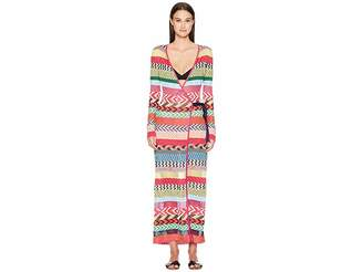 Mary Katrantzou Oceania Dress Fira Stripe Knit Cover-Up
