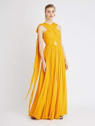 Oscar de la Renta Crinkle Silk-Chiffon Gown