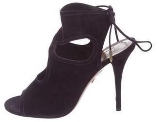 Aquazzura Ankle Strap Suede Sandals