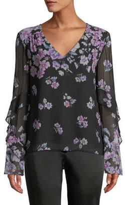 Nanette Lepore Zen Floral-Print Silk Blouse