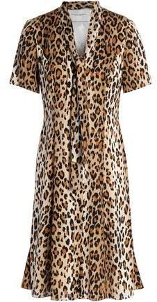 Pussy-Bow Leopard-Print Silk-Blend Mini Dress