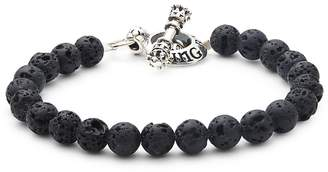 King Baby Studio Men's Beaded Sterling Silver Toggle Bracelet