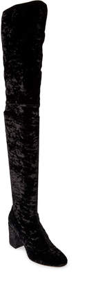 Oscar Tiye Black Maha Crushed Velvet Thigh High Boots