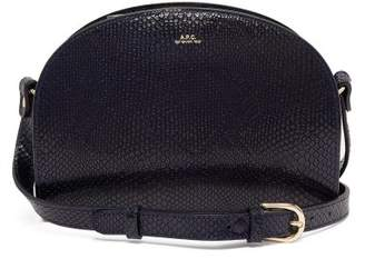 A.p.c. - Half Moon Snake Effect Leather Cross Body Bag - Womens - Dark Blue