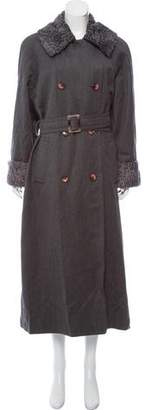 J. Mendel Shearling-Accented Wool Coat