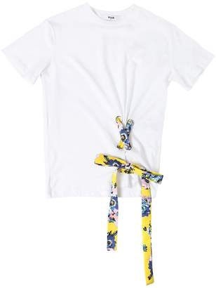 MSGM Cotton Jersey T-Shirt W/ Lace-Up Detail