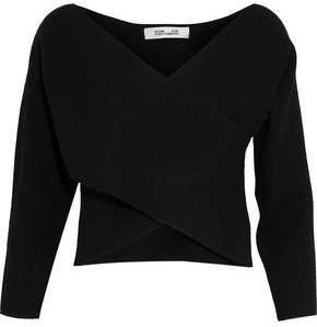 Diane von Furstenberg Cropped Wrap-Effect Cashmere Sweater