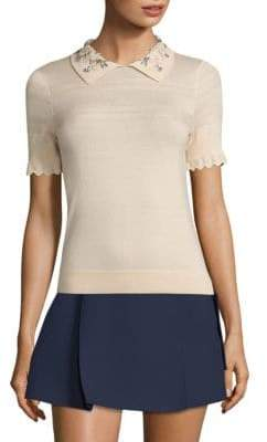Carven Embellished Collared Top